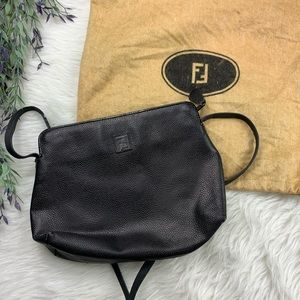 Vintage FENDI Logo Small Black Purse authentic